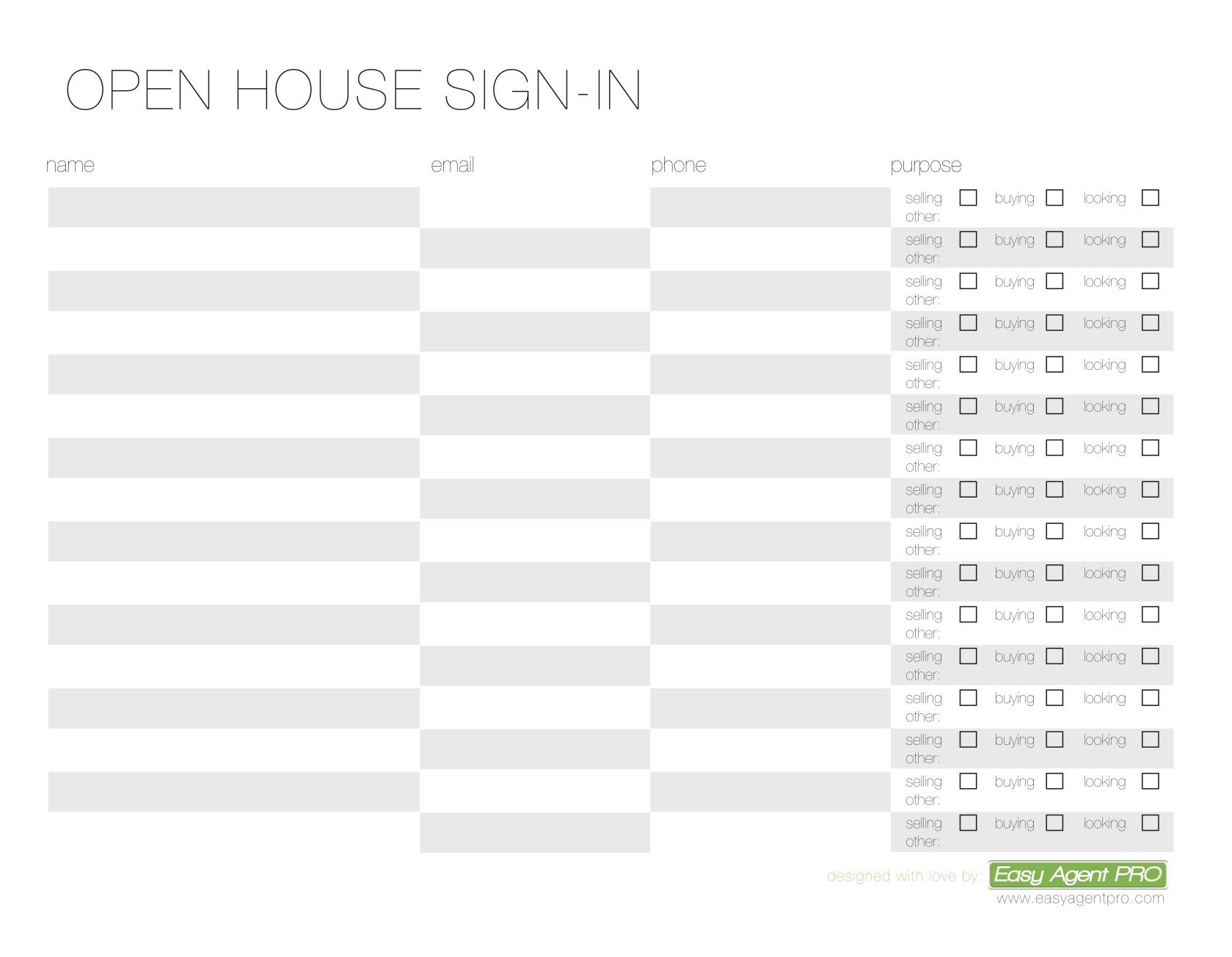 Open House Sign In Sheet Printable Templates Free Ready For Use