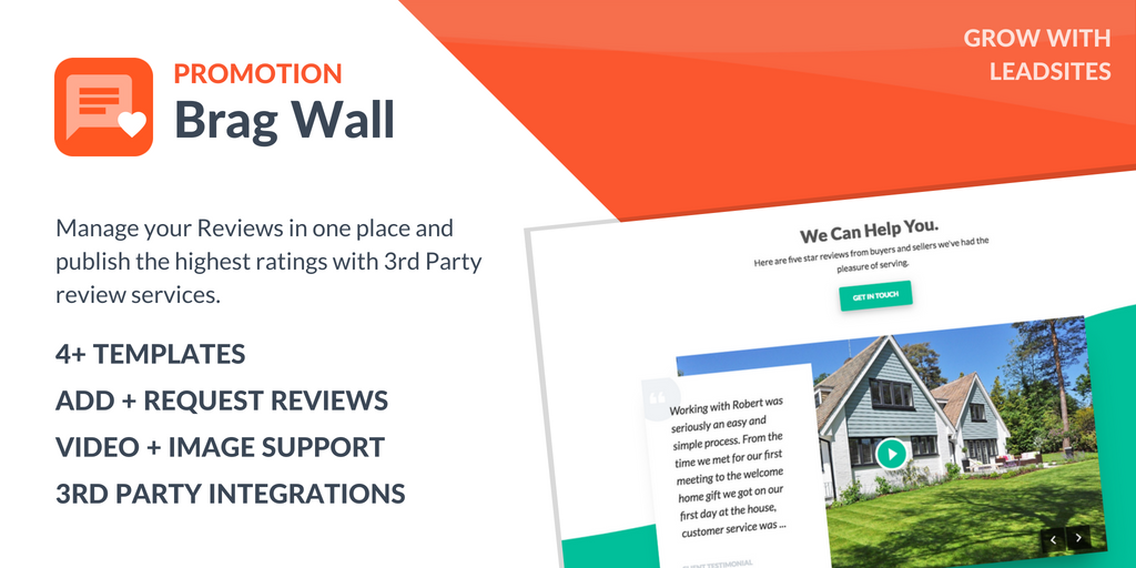 Brag Wall - Review management - LeadSites By Easy Agent PRO